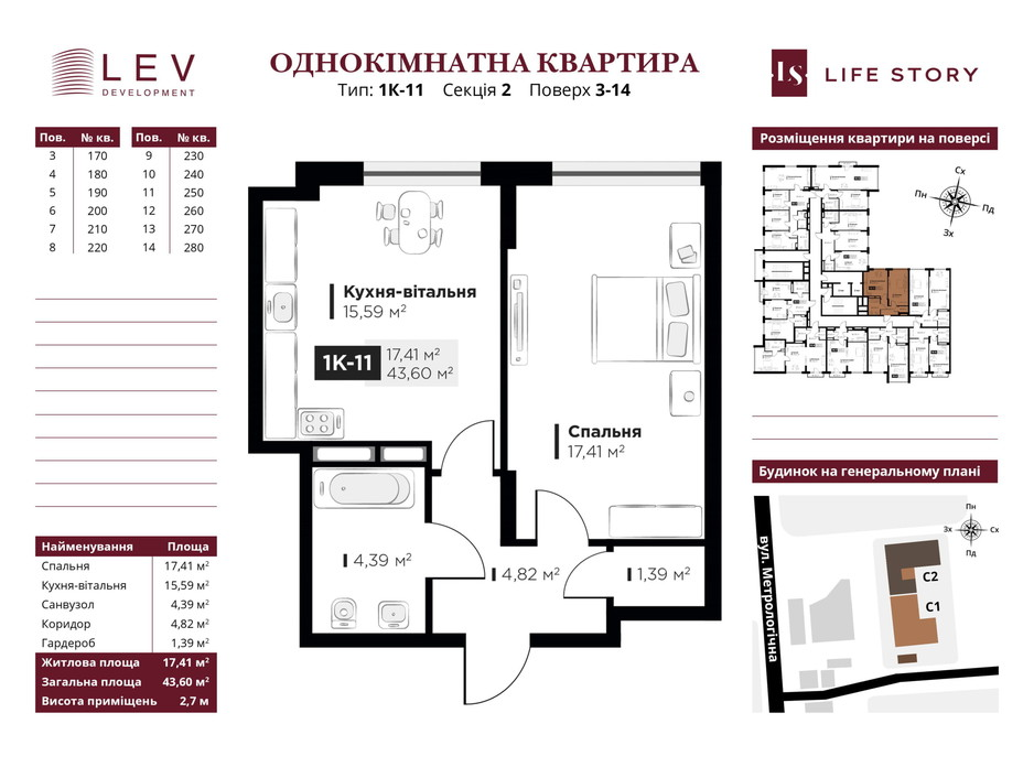 Планування 1-кімнатної квартири в ЖК Life Story 43.6 м², фото 233216