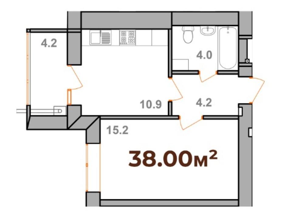 Планування 1-кімнатної квартири в ЖК Опришівська Слобода 38 м², фото 233312