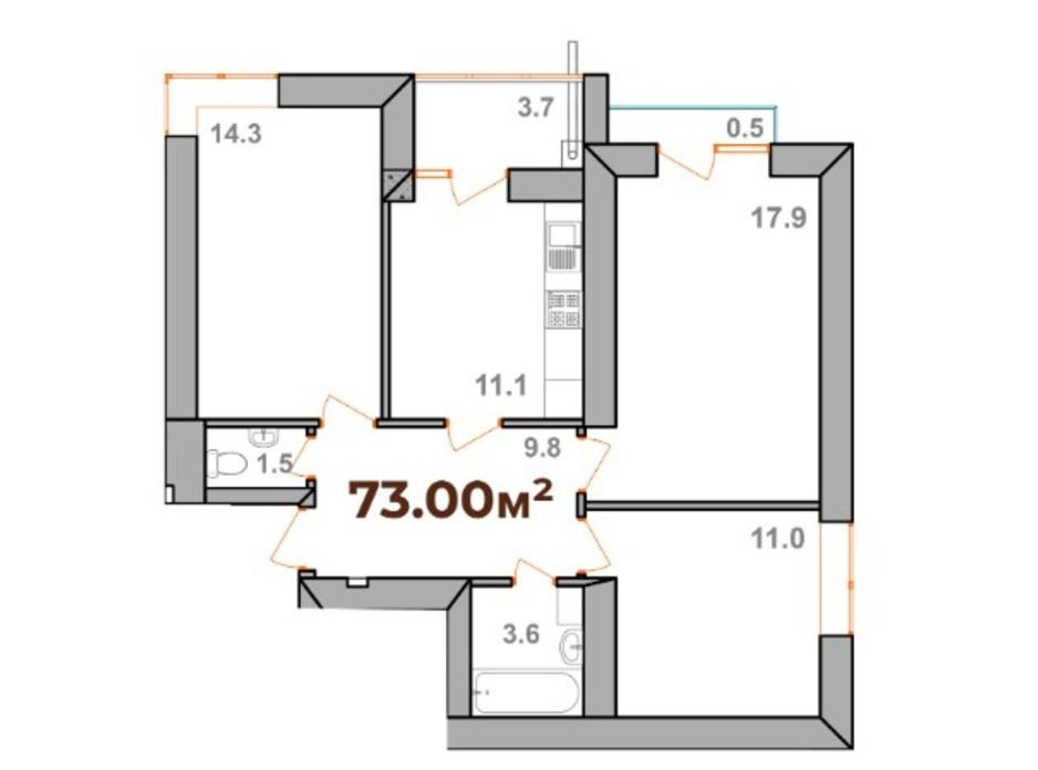 Планировка 3-комнатной квартиры в ЖК Опришівська Слобода 73 м², фото 233313