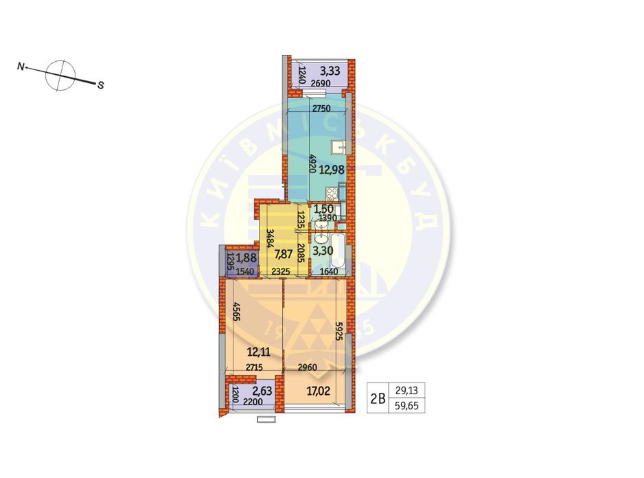 Планування 2-кімнатної квартири в ЖК Курнатовського 59.65 м², фото 233383