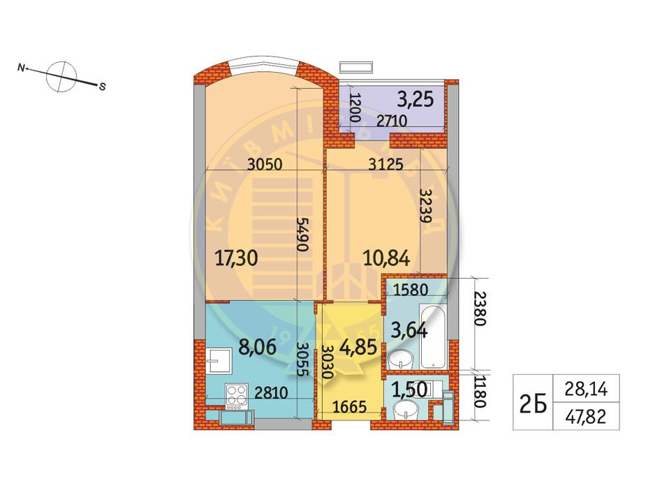 Планування 2-кімнатної квартири в ЖК Курнатовського 47.82 м², фото 233386