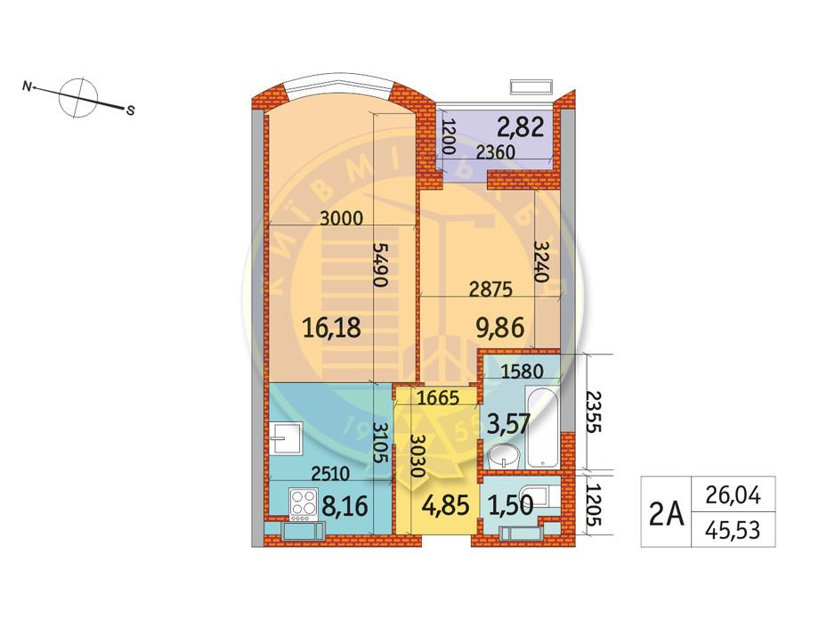 Планування 2-кімнатної квартири в ЖК Курнатовського 45.53 м², фото 233389