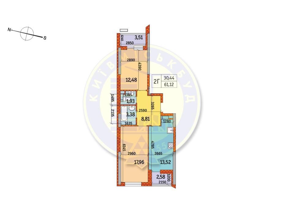 Планування 2-кімнатної квартири в ЖК Курнатовського 61.12 м², фото 233414