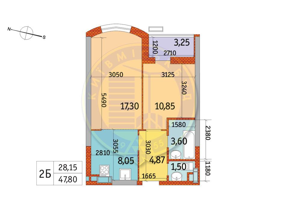 Планування 2-кімнатної квартири в ЖК Курнатовського 47.8 м², фото 233424