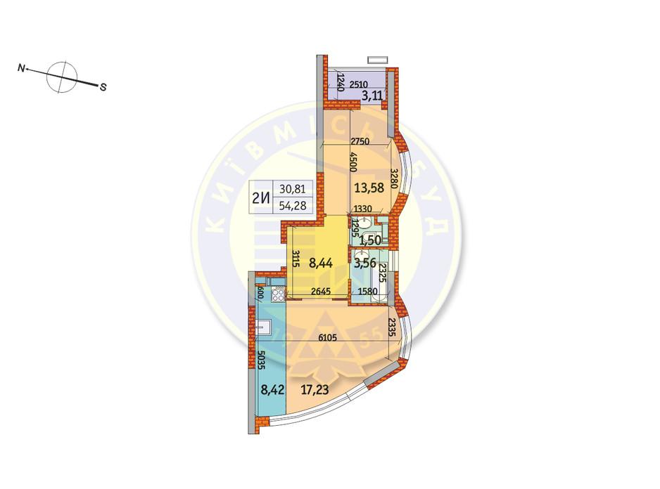 Планування 2-кімнатної квартири в ЖК Курнатовського 54.28 м², фото 233430