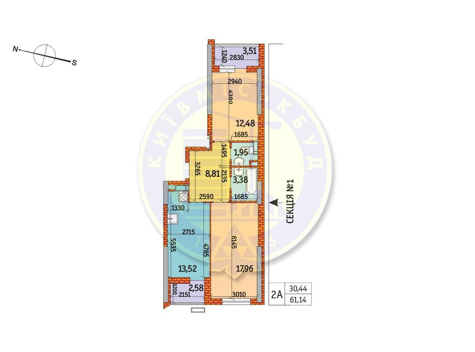 Планування 2-кімнатної квартири в ЖК Курнатовського 61.14 м², фото 233437