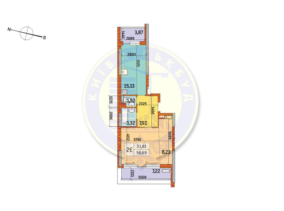 Планування 2-кімнатної квартири в ЖК Курнатовського 56.69 м², фото 233445