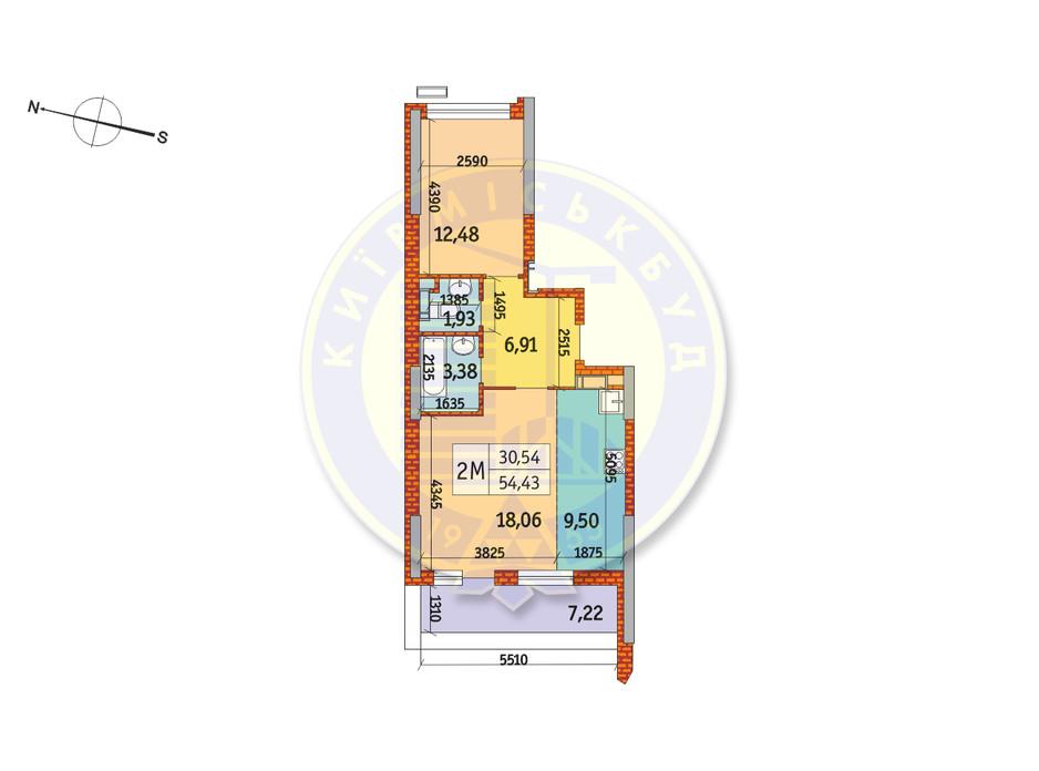 Планування 2-кімнатної квартири в ЖК Курнатовського 54.43 м², фото 233447
