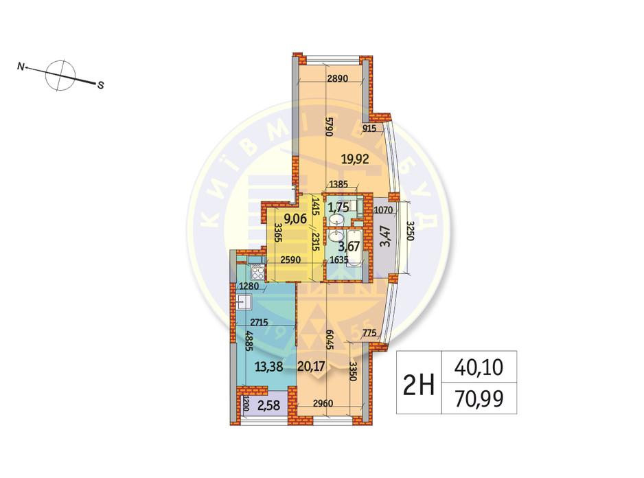 Планування 2-кімнатної квартири в ЖК Курнатовського 70.99 м², фото 233471