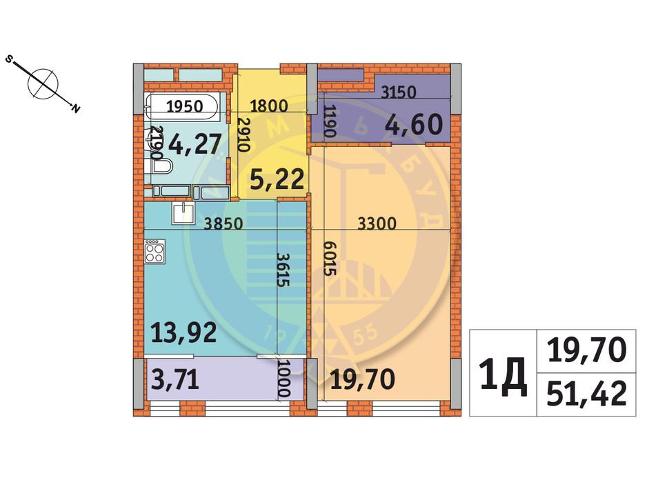 Планировка 1-комнатной квартиры в ЖК Star City 51.42 м², фото 233489