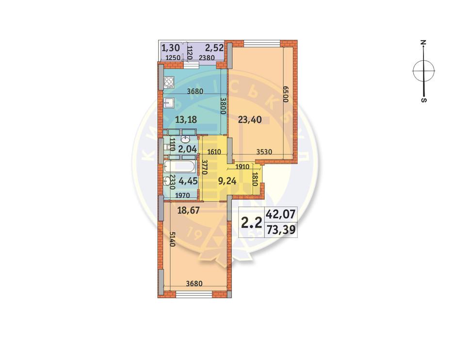 Планування 2-кімнатної квартири в ЖК Lake House 73.39 м², фото 233515