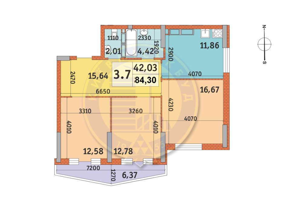 Планування 3-кімнатної квартири в ЖК Lake House 84.58 м², фото 233525
