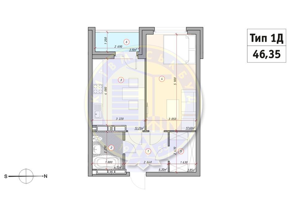 Планування 1-кімнатної квартири в ЖК Кирилівський Гай 46.35 м², фото 233536
