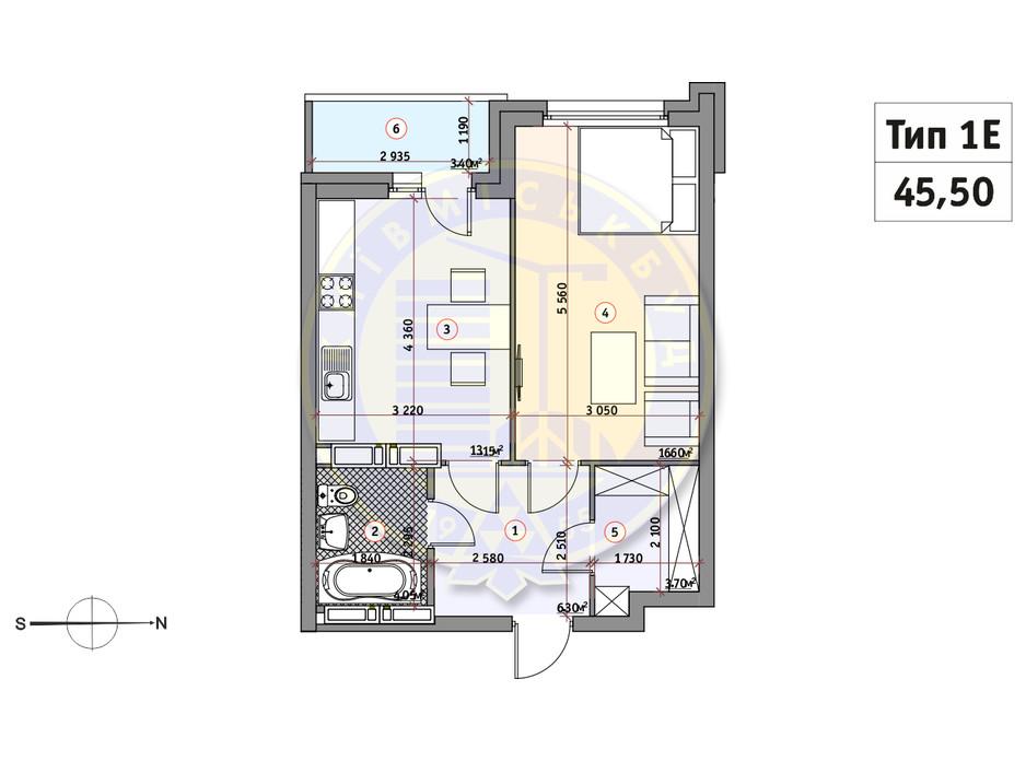 Планування 1-кімнатної квартири в ЖК Кирилівський Гай 45.5 м², фото 233550