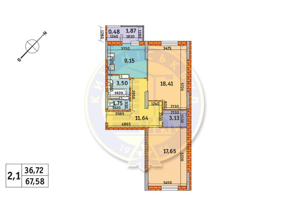 Планировка 2-комнатной квартиры в ЖК Обериг-2 67.58 м², фото 233568