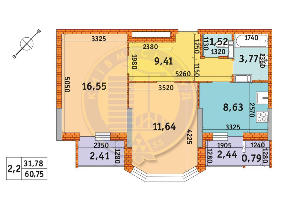 Планировка 2-комнатной квартиры в ЖК Обериг-2 60.75 м², фото 233570