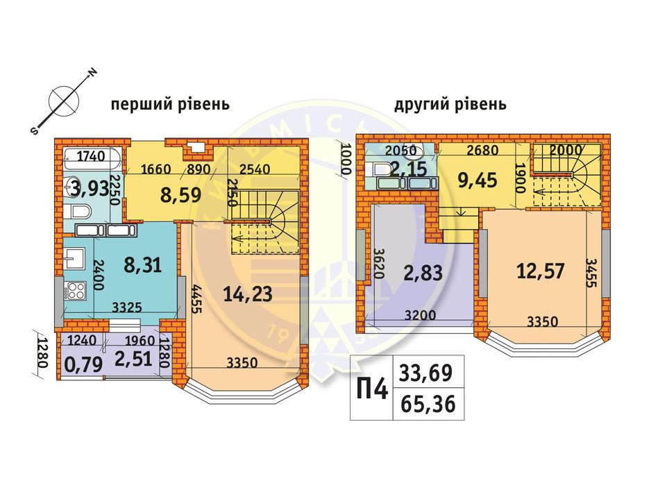 Планировка 2-комнатной квартиры в ЖК Обериг-2 65.36 м², фото 233578