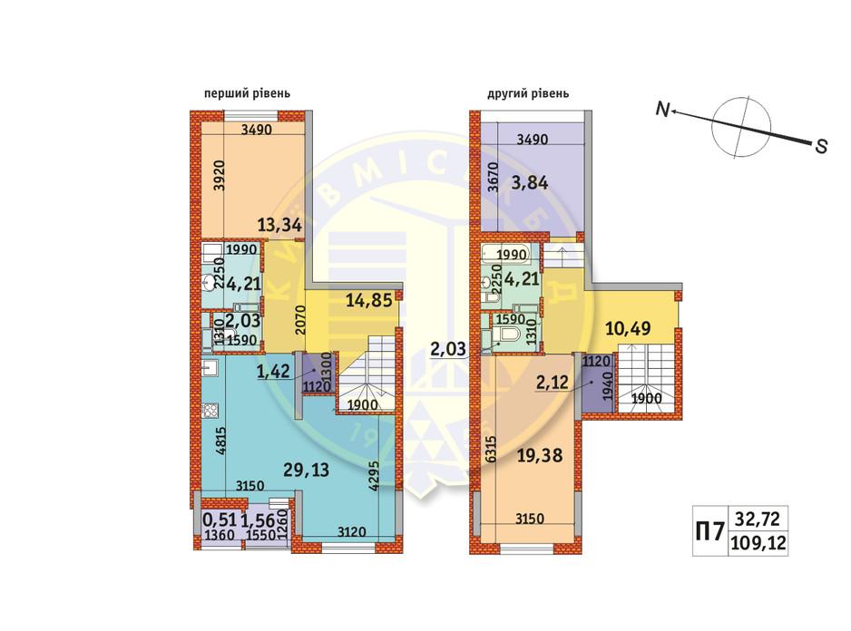 Планировка 2-комнатной квартиры в ЖК Злагода 109.12 м², фото 233642