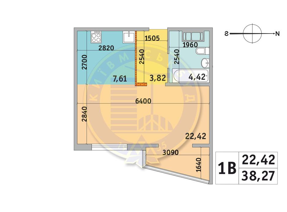 Планировка 1-комнатной квартиры в ЖК Милос 38.27 м², фото 233670