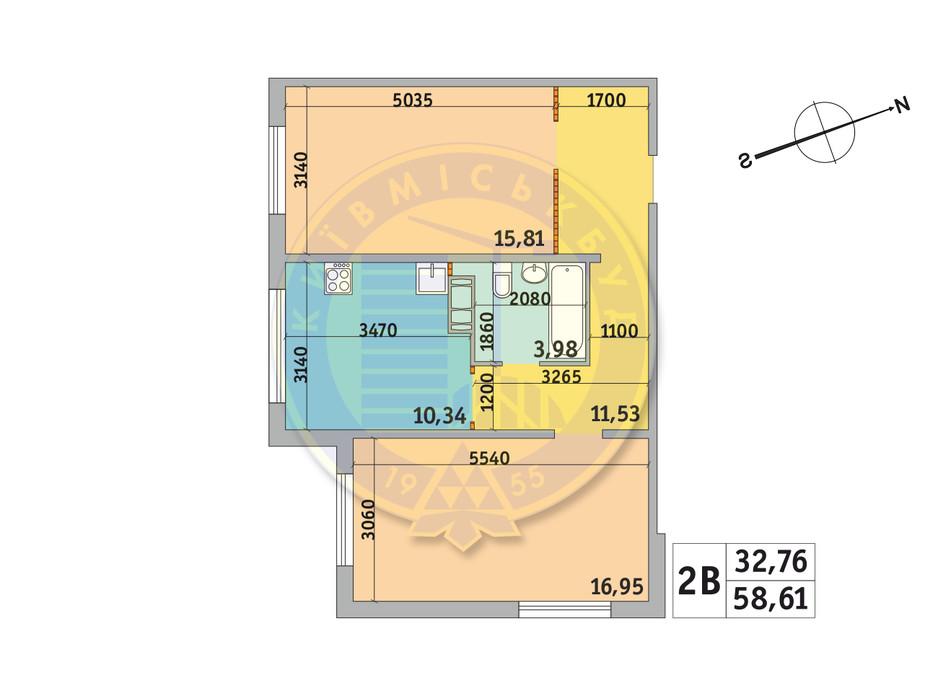 Планування 2-кімнатної квартири в ЖК Мілос 58.61 м², фото 233683