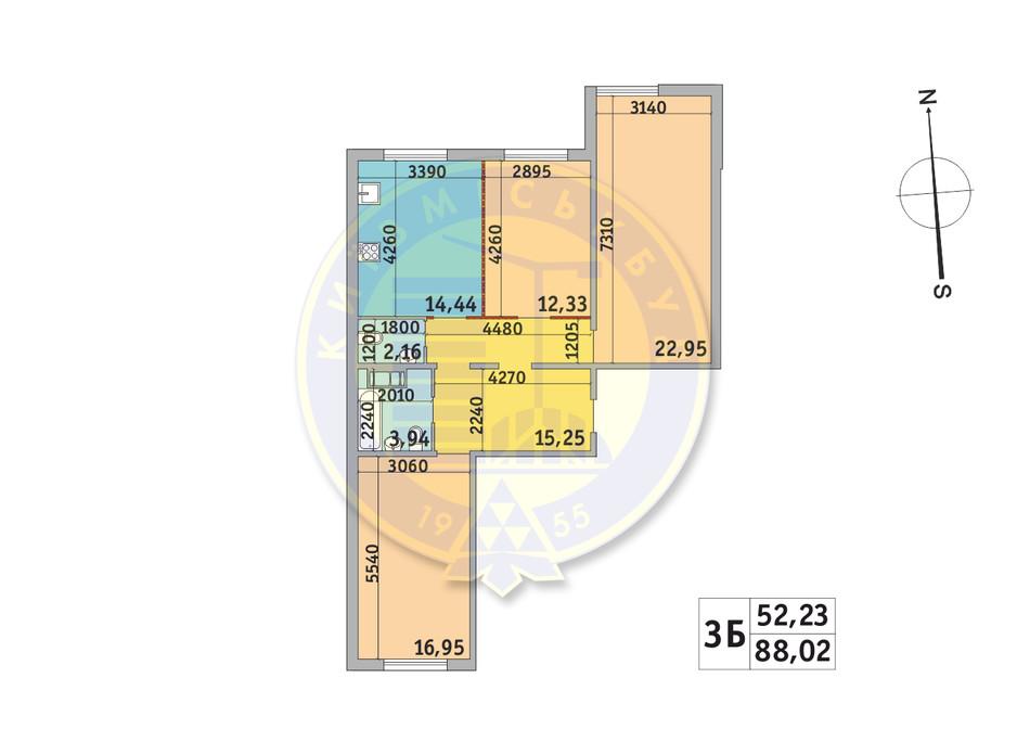 Планировка 3-комнатной квартиры в ЖК Милос 88.02 м², фото 233696