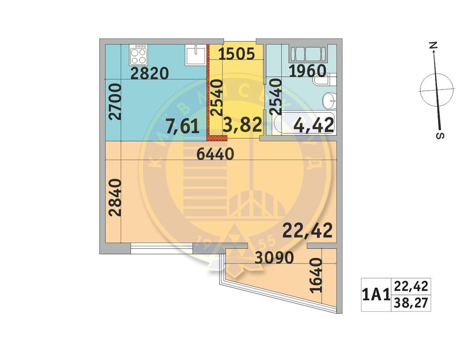 Планування 1-кімнатної квартири в ЖК Мілос 38.27 м², фото 233697