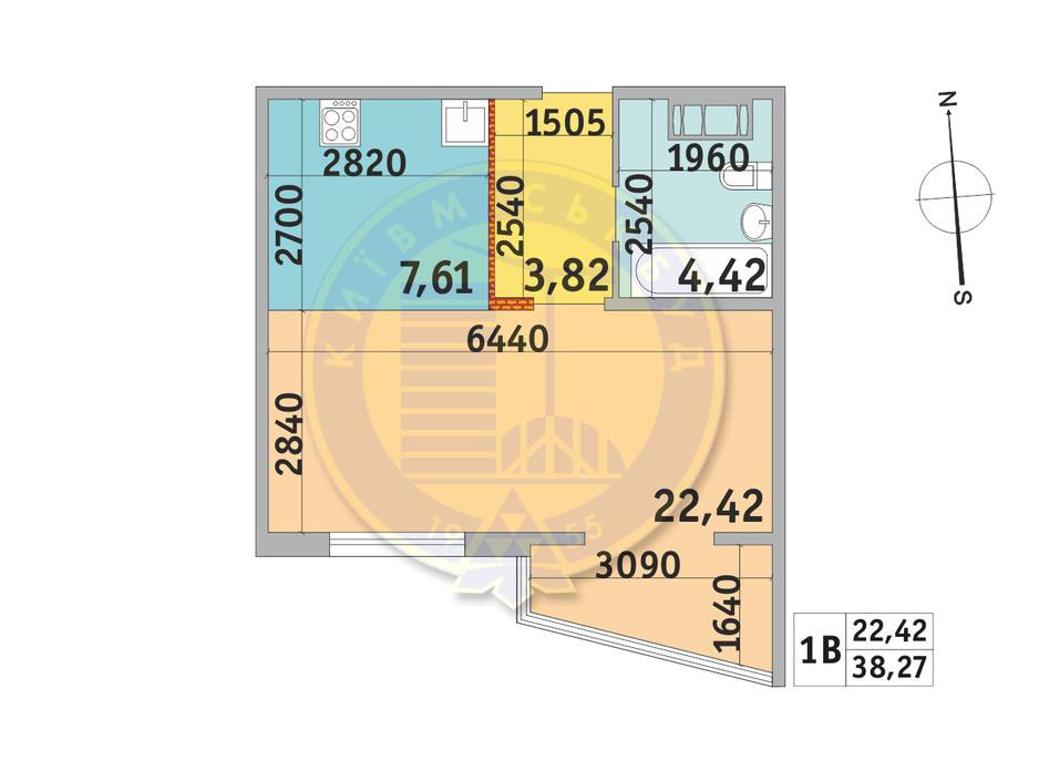Планування 1-кімнатної квартири в ЖК Мілос 38.27 м², фото 233705