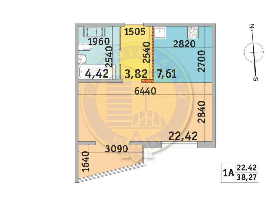 Планування 1-кімнатної квартири в ЖК Мілос 38.27 м², фото 233708