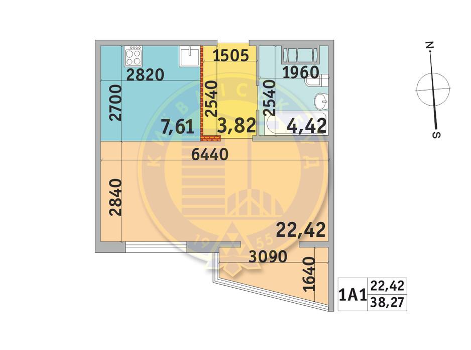 Планування 1-кімнатної квартири в ЖК Мілос 38.27 м², фото 233737