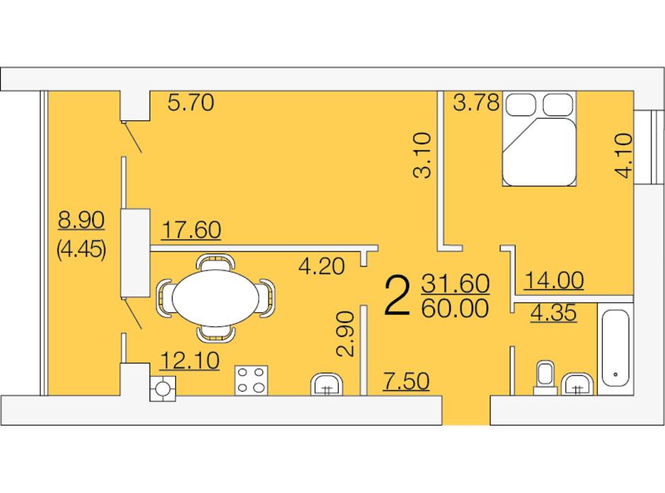 Планировка 2-комнатной квартиры в ЖК Апельсин-3 60 м², фото 233882
