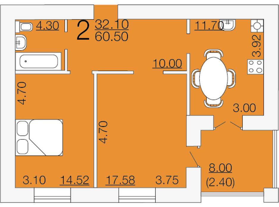 Планування 2-кімнатної квартири в ЖК Апельсин 3 60.5 м², фото 233883