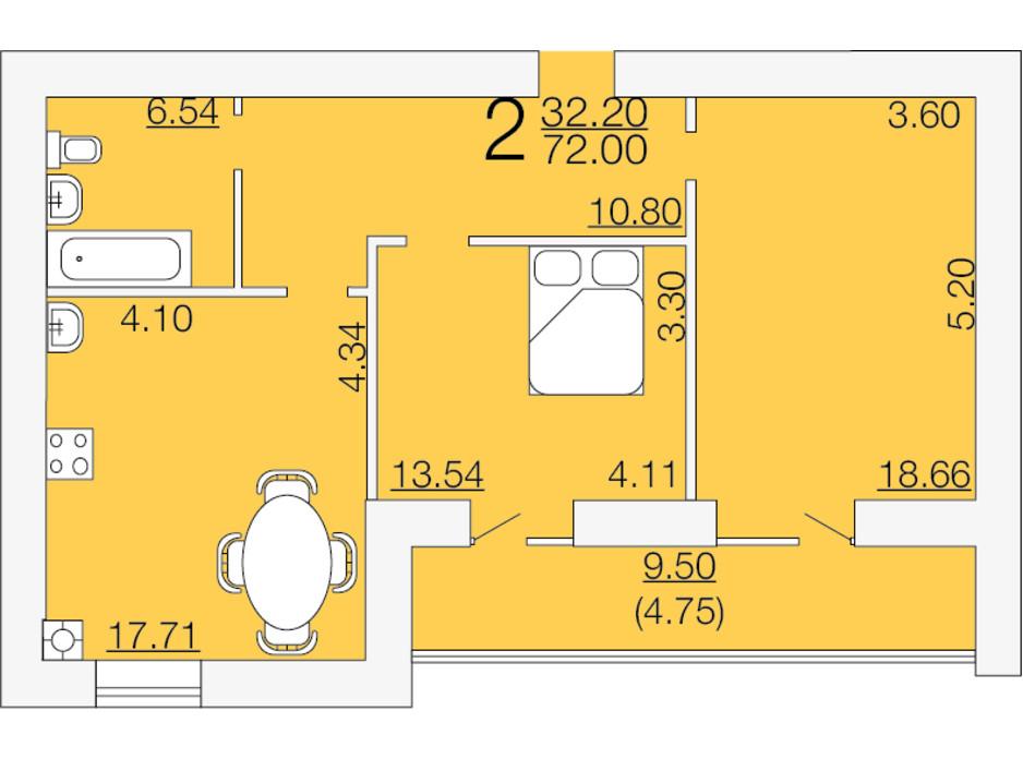Планировка 2-комнатной квартиры в ЖК Апельсин-3 72 м², фото 233885