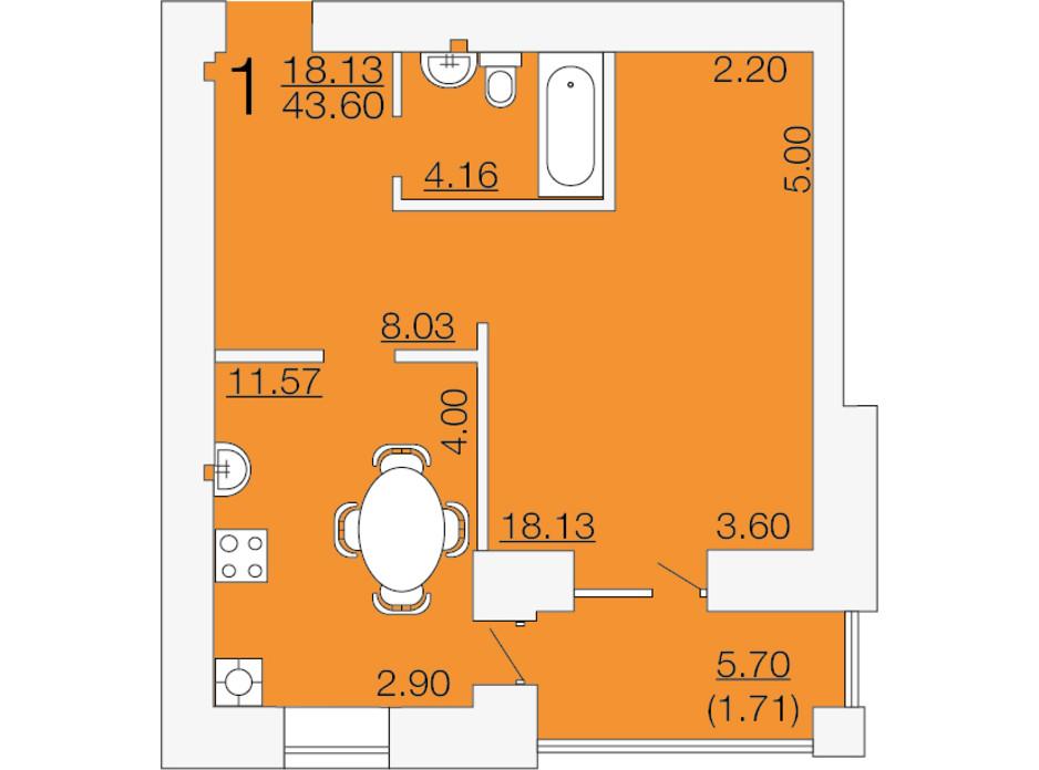 Планировка 1-комнатной квартиры в ЖК Апельсин-3 43.6 м², фото 233888