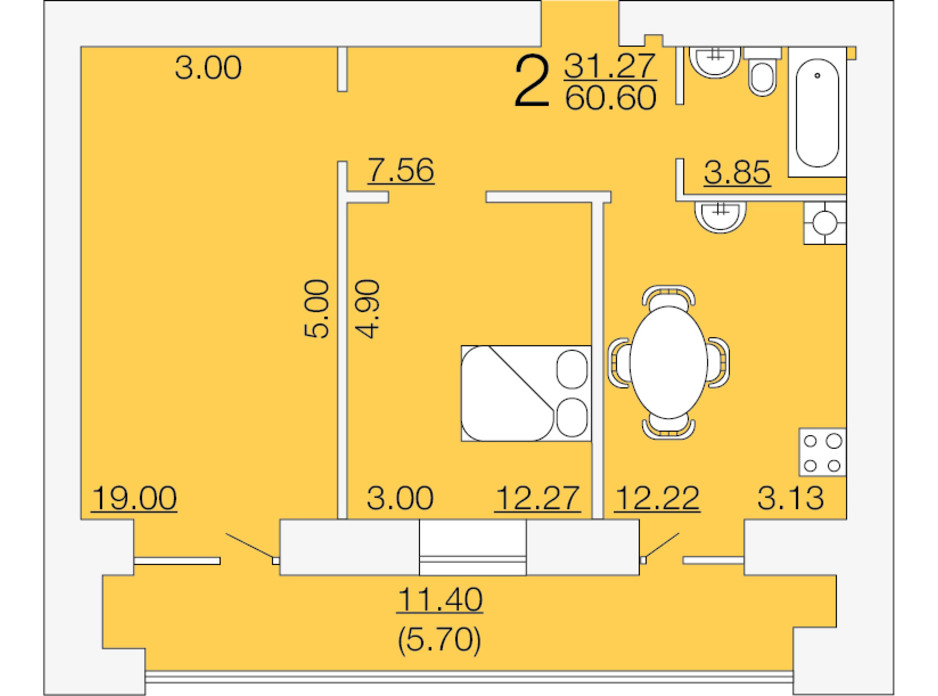 Планировка 2-комнатной квартиры в ЖК Апельсин-3 60.6 м², фото 233889
