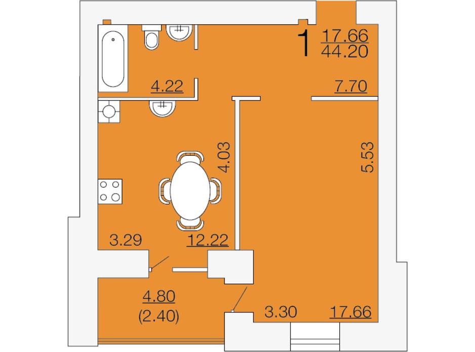 Планировка 1-комнатной квартиры в ЖК Апельсин-3 44.2 м², фото 233892