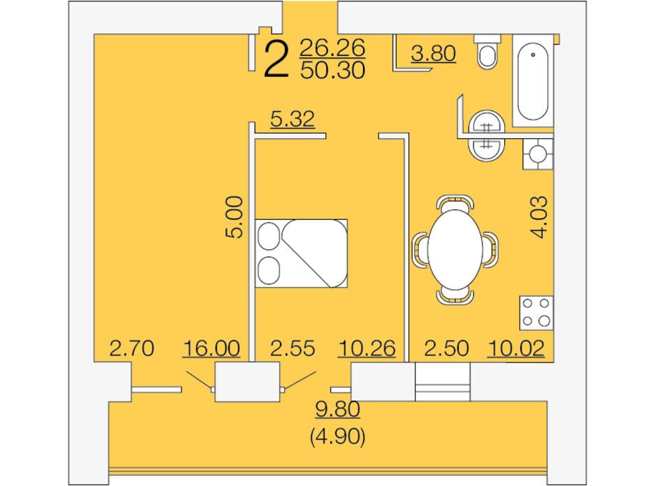Планировка 2-комнатной квартиры в ЖК Апельсин-3 50.3 м², фото 233893