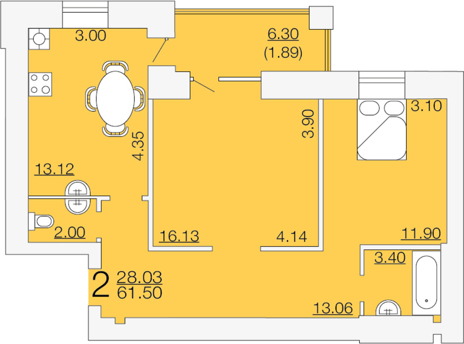 Планировка 2-комнатной квартиры в ЖК Апельсин-3 61.5 м², фото 233894