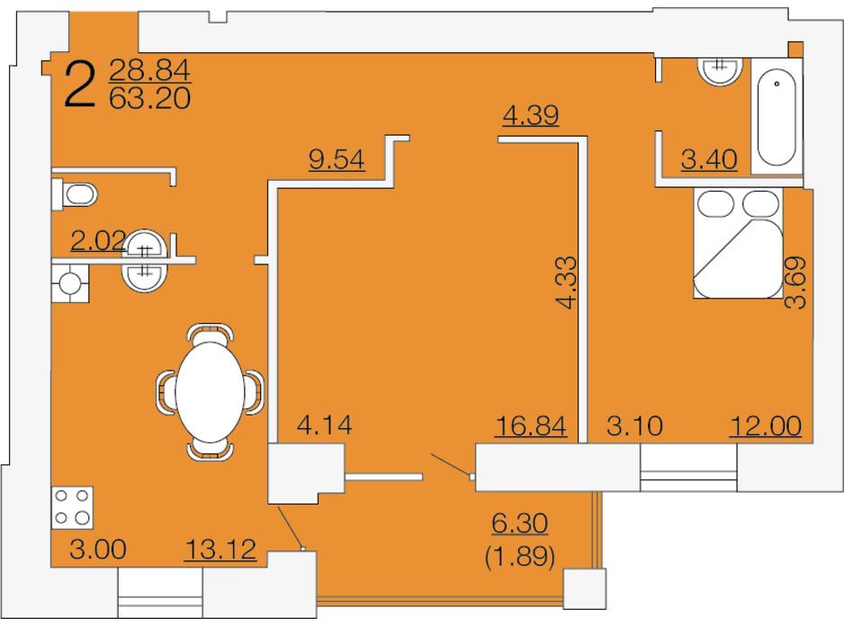 Планировка 2-комнатной квартиры в ЖК Апельсин-3 63.2 м², фото 233895
