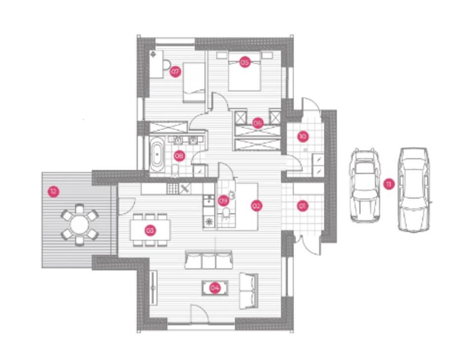 Планировка коттеджа в КГ Mulberry Homes 131 м², фото 234043