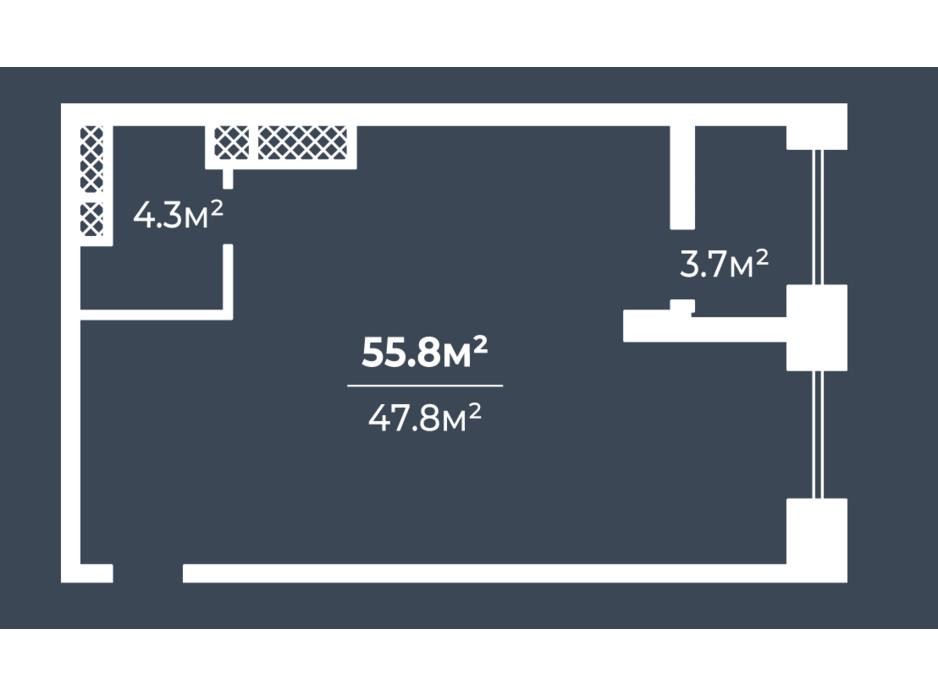 Планировка 1-комнатной квартиры в ЖК Грани 55.8 м², фото 234068