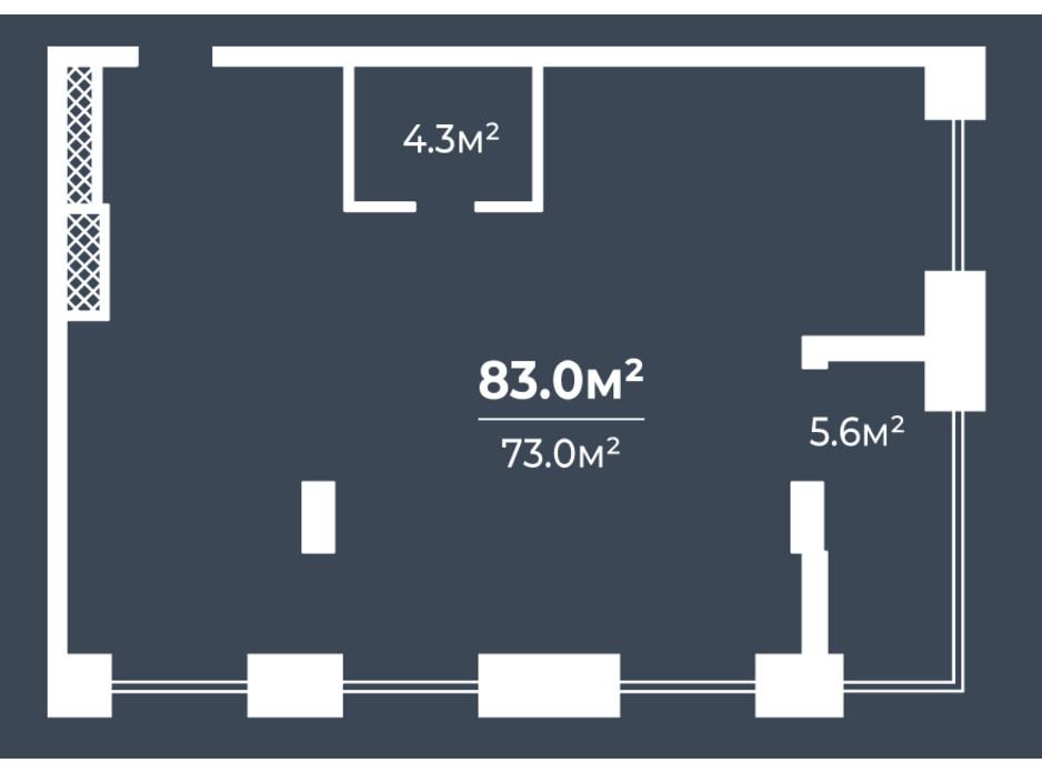 Планировка 3-комнатной квартиры в ЖК Грани 83 м², фото 234071