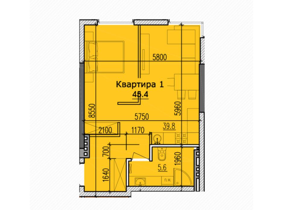 Планировка 2-комнатной квартиры в ЖК Classic Hall 48.4 м², фото 234108