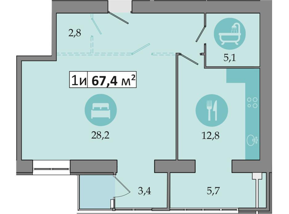 Планировка 1-комнатной квартиры в ЖК Днепровская Брама 2 67.4 м², фото 234254