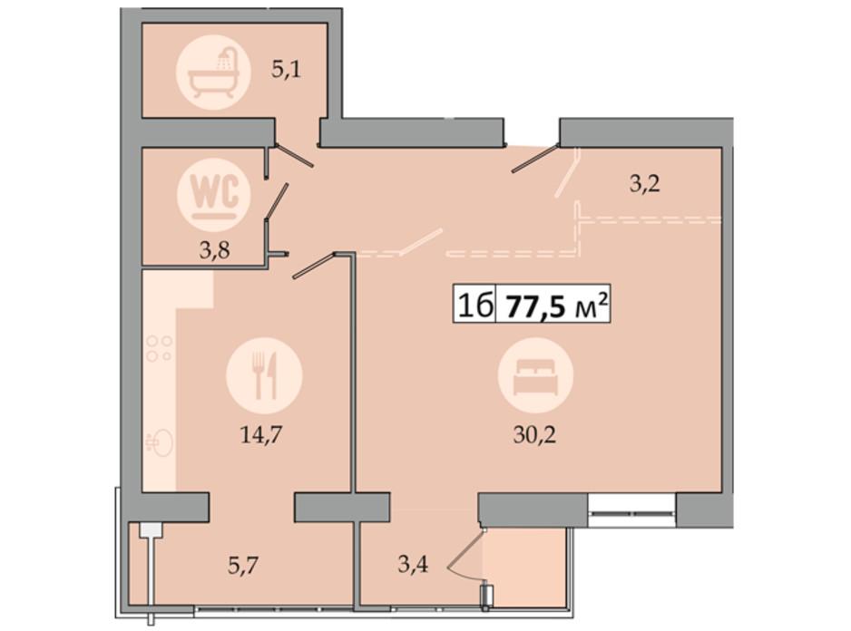 Планировка 1-комнатной квартиры в ЖК Днепровская Брама 2 77.5 м², фото 234256