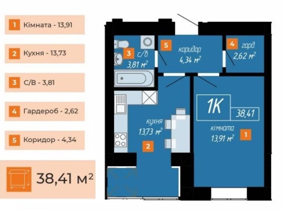 Планировка 1-комнатной квартиры в ЖК Козацкий 38.41 м², фото 234282