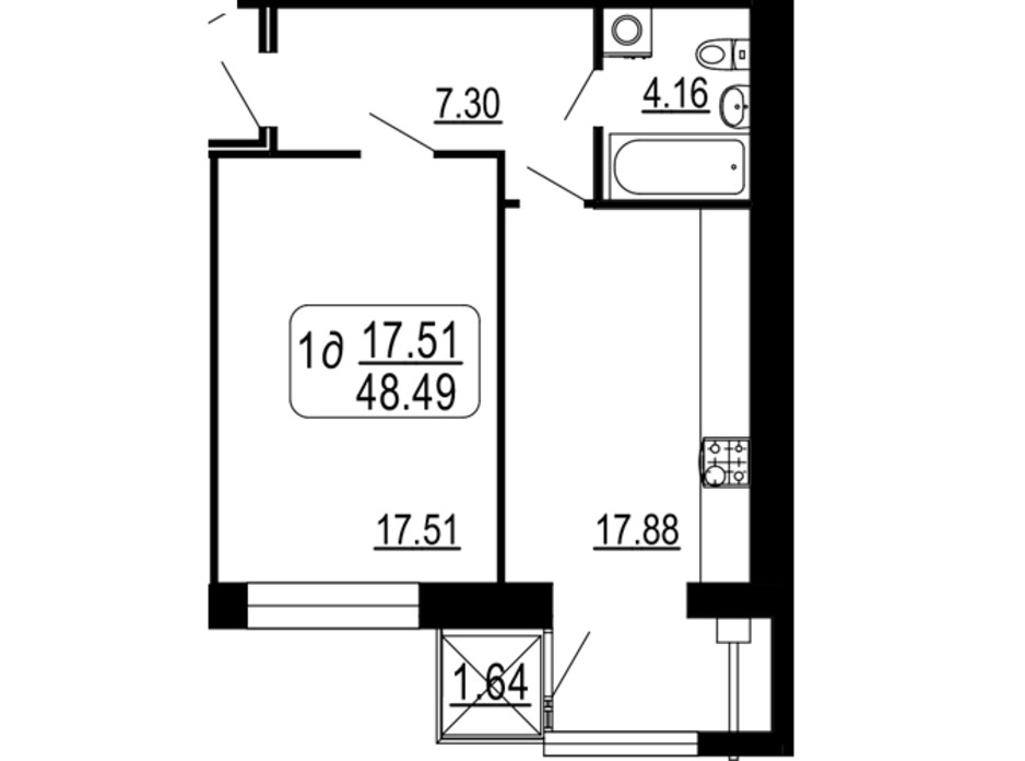 Планировка 1-комнатной квартиры в ЖК Семейный Comfort 48.49 м², фото 234289
