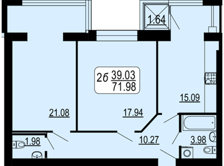 Планировка 2-комнатной квартиры в ЖК Семейный Comfort 71.98 м², фото 234292