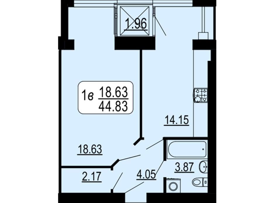 Планировка 1-комнатной квартиры в ЖК Семейный Comfort 44.83 м², фото 234297