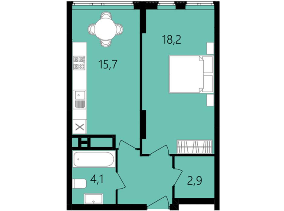 Планировка 1-комнатной квартиры в ЖК Лесопарковый 45.3 м², фото 234298
