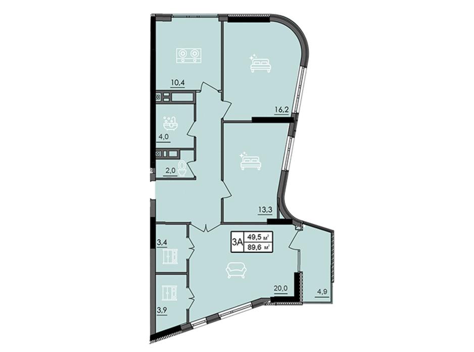 Планировка 3-комнатной квартиры в ЖК Лесопарковый 89.6 м², фото 234305